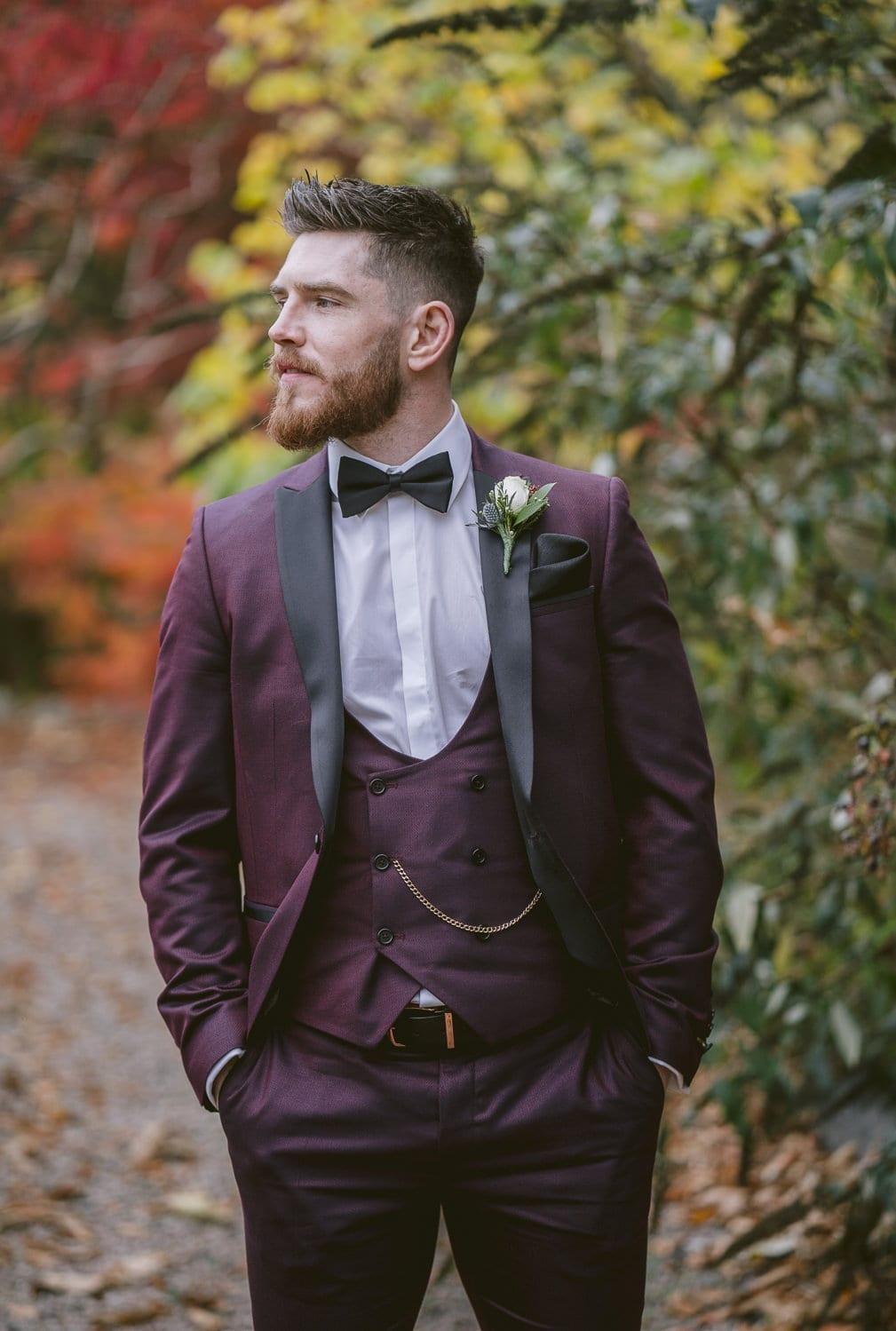 Groom Larchfield Estate wedding photography