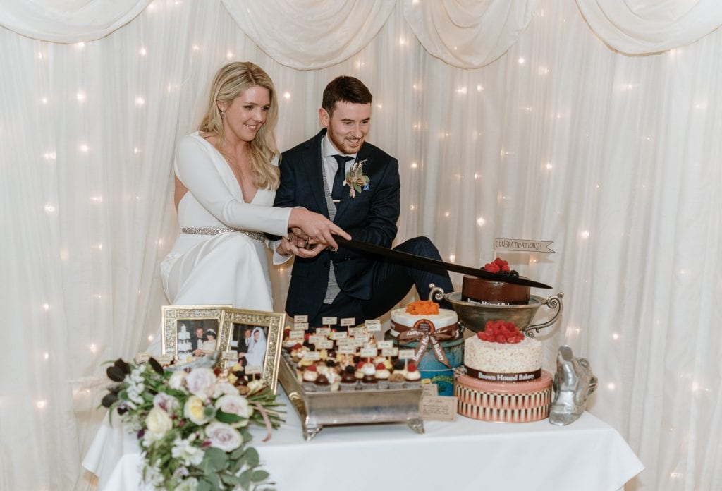 bride and from cutting their cake at a Castle Leslie wedding
