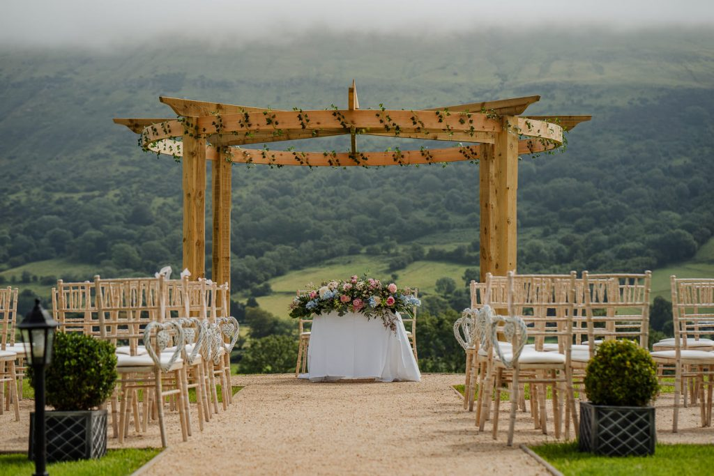 Outdoor wedding ceremony at Kilmore Country House